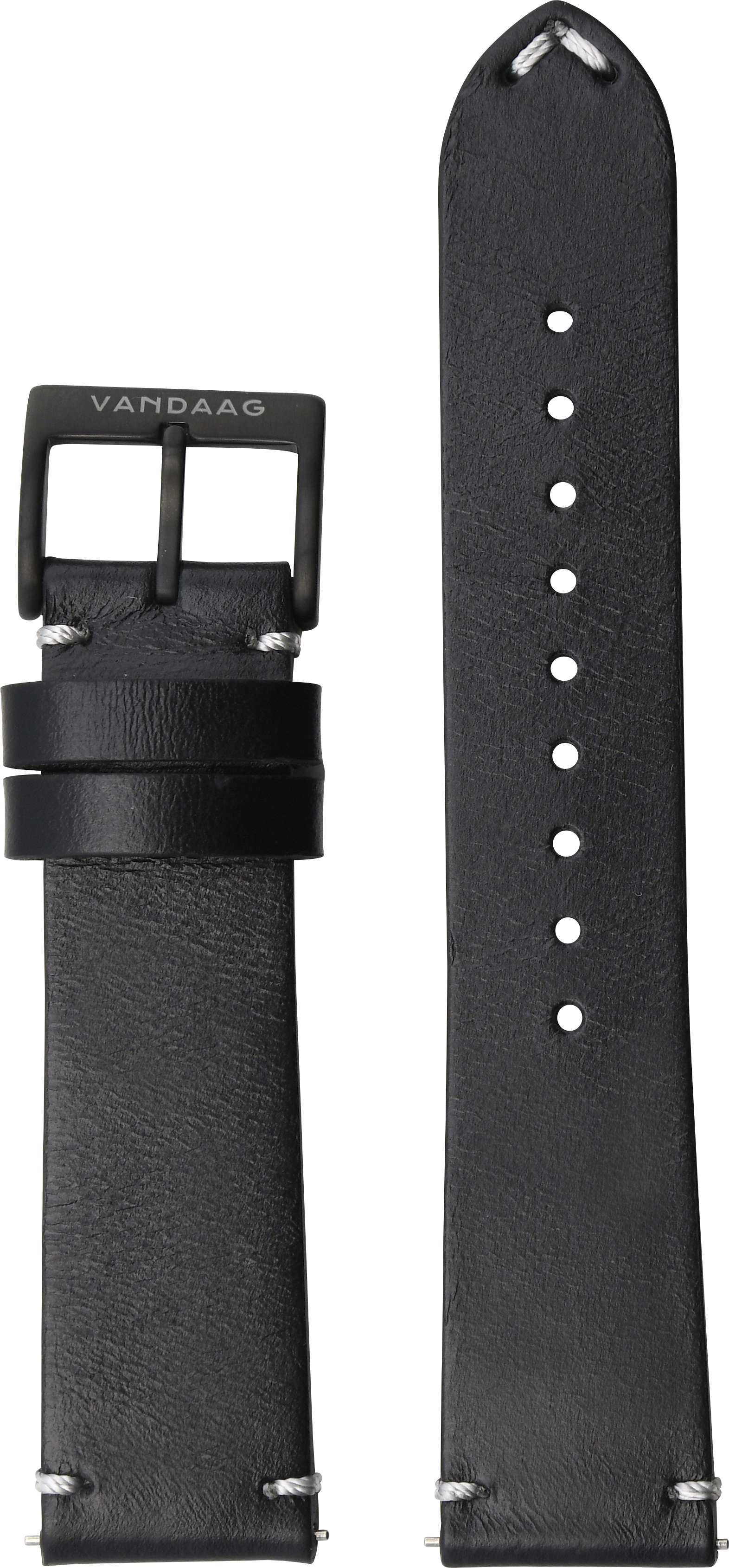 Horween-leather strap, black, DLC-Closure